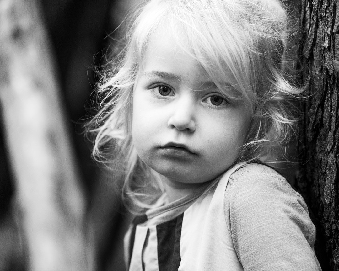 Girl looking serious into camera
