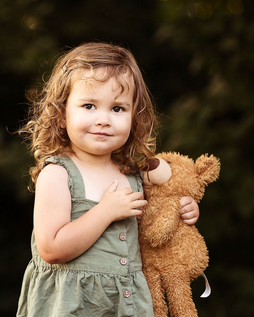 cute little girl with teddy