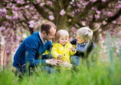 Familie im Park mit herrlichen Kirschblüten