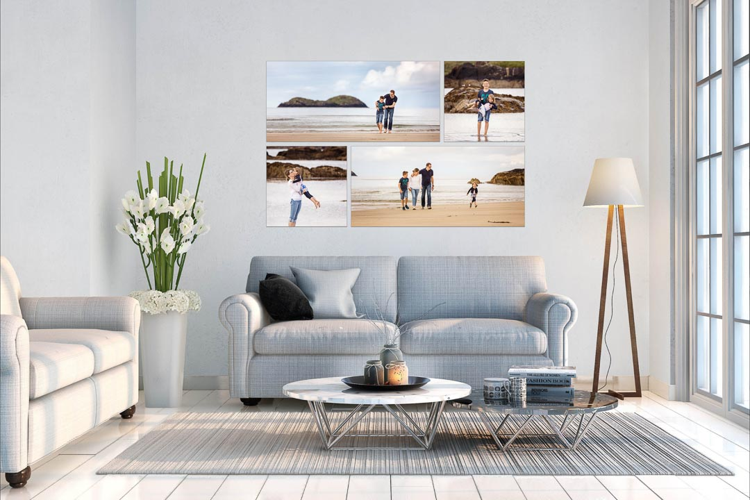beautiful collection of canvas with family photos in living room