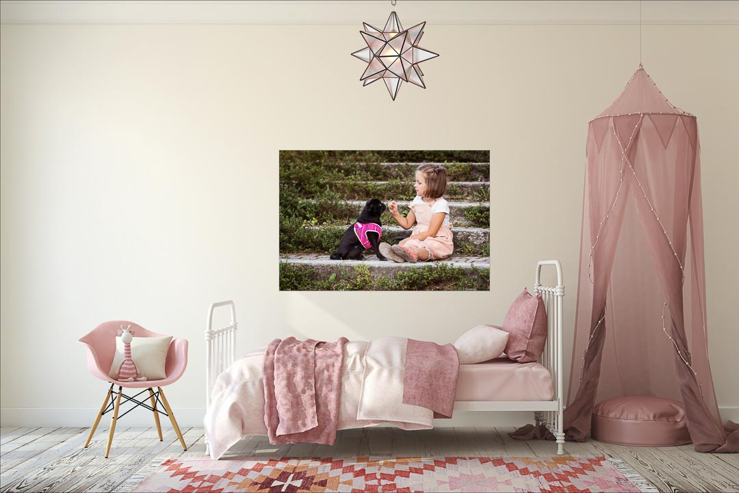 girl bedroom with gorgeous photo of her on wall